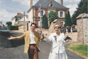 The newly wed walking out of town hall on July 25, 1992