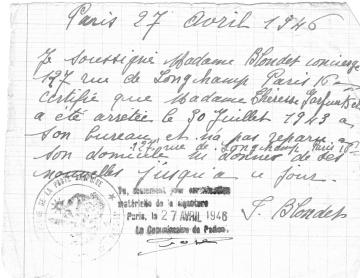 certif  arrestation  Thérèse