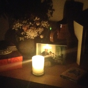 yahrzeit candle glowing in the night