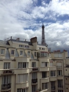 View of the roofs and the Eiffel Tower